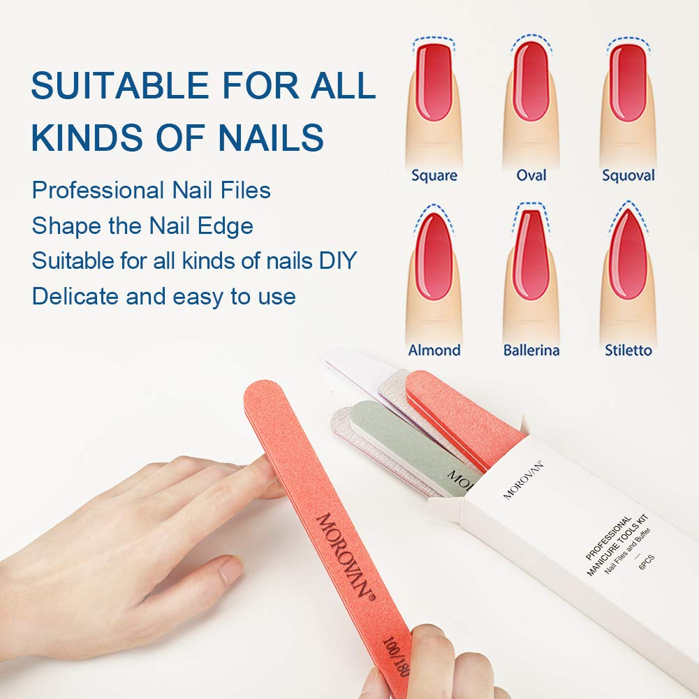 Nail Files And Buffers, Professional Manicure Tool Buffer And Shine Block Kit, 100 180 240 Grit Double Sided for Natural Nails Poly Nail Gel Tools Kit Women Girls Acrylic Nails, Salon Nail Art 6PCS : Beauty