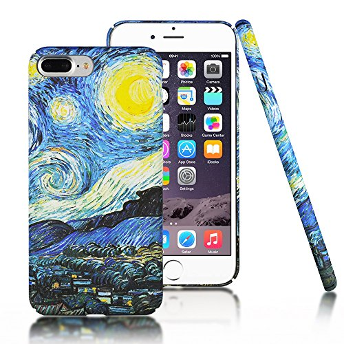 iPhone 7 Plus Case,iPhone 8 Plus,CLOUDS [Famous Paiting Series] Smooth Premium Durable Hard PC Funny 3D Flowing oil painting case with a free screen protector-The Starry Night Van (Night Phone Protector)