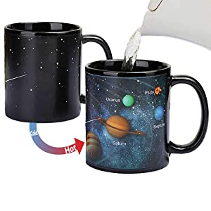 Heat Changing Solar System Magic Coffee Mug Heat Sensitive Porcelain Tea Cup Xmas Funny Gifts(10 OZ) - by Antspirit