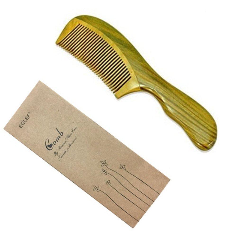 Eqlef ® Grün Sandelholz keine statischen Kamm, Handarbeit, 13 cm EQLEF®
