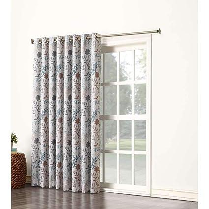 Amazoncom 1pc 84 Grey Color Floral Sliding Door Curtain