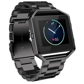WATCH BAND 23 mm, happytop acero inoxidable reloj pulsera correa reloj de repuesto para Fitbit Blaze actividad Tracker, hombre, negro, S: Amazon.es: ...