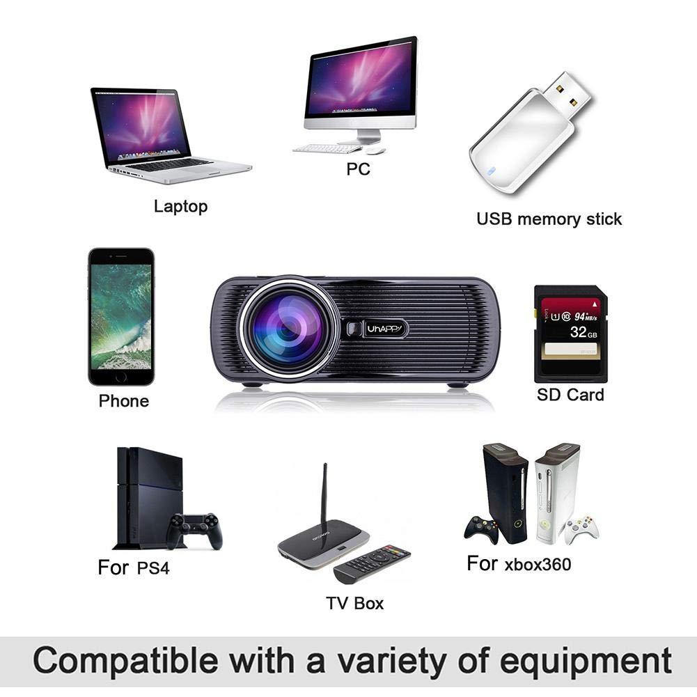 ホームシアター Mugast 1080P HD 高解像度 1500ルーメン LEDプロジェクター 台形補正 マルチメディア USB/TF/HDMI/AV 入力 ミニプロジェクター (USプラグ) B07QDXFLWB USプラグ