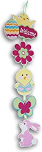 Glittery Easter Chicks and Bunny Jointed Wooden Hanging Decor Sign - 23 Inches Tall x 6.5 Inches Across