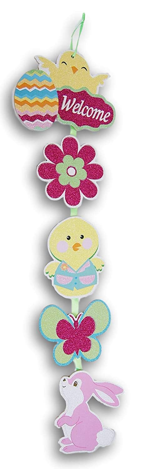 Glittery Easter Chicks and Bunny Jointed Wooden Hanging Decor Sign 23 Inches Tall x 6.5 Inches Across