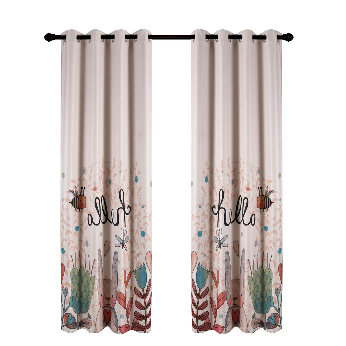 Taisier Home Cartoon Theme Baby Curtians for Nursery Girls,84 Inch Length for Childrens Bedroom Bunny Bee Dragonfly with Natural Style Design,1 Panel Set Ring Top Style Lovely Curtain Drapes
