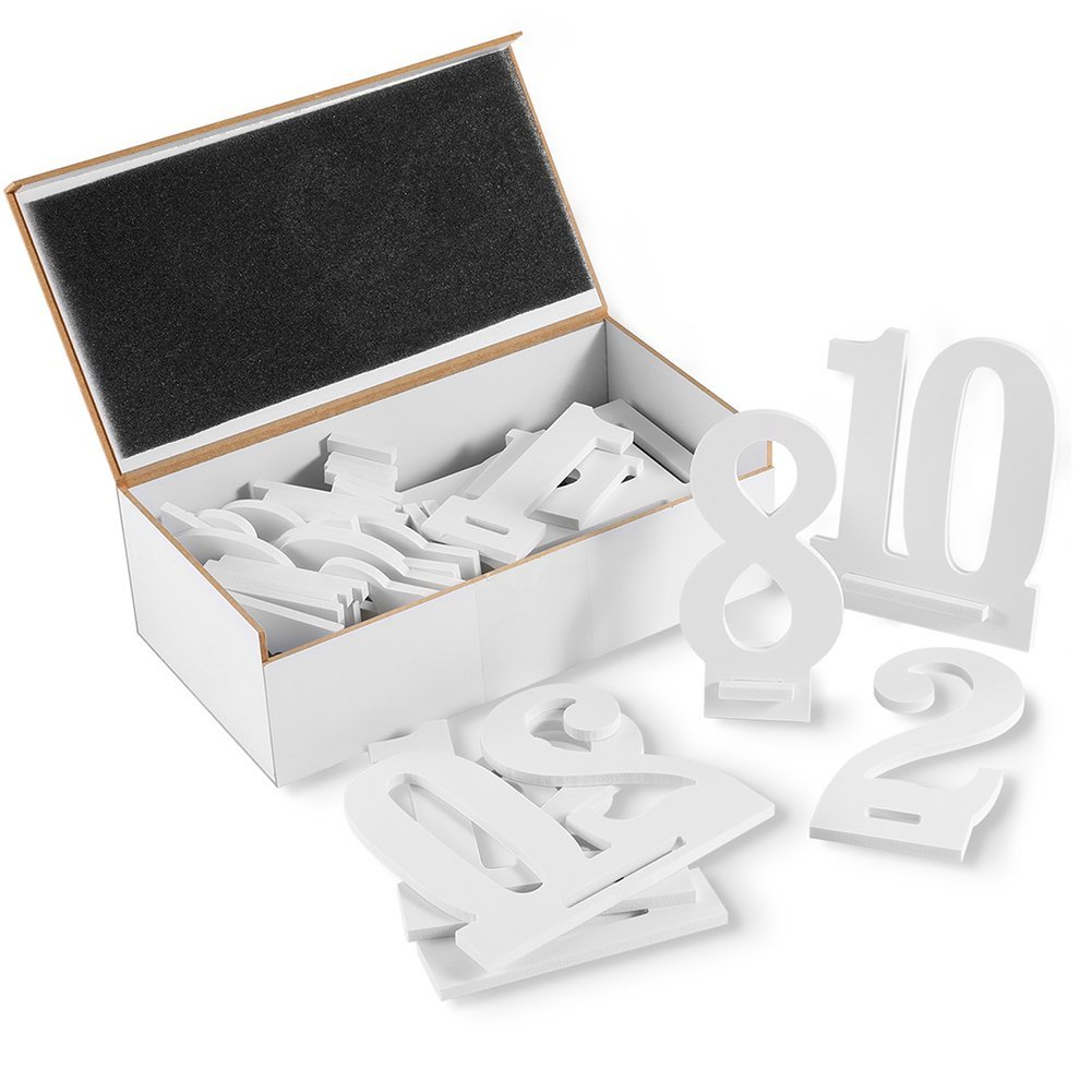 Furniture Life 1 to 20 Wooden Table Numbers with Sturdy Holder Base for Wedding, Party, Events or Catering Decoration