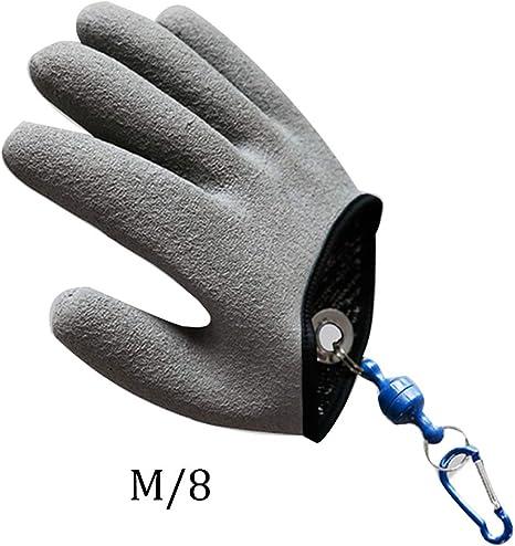 ouken Guanto di Pesca con Magnete Antiscivolo Pesca Protezione Secure Device processo Strumento di Pescatore Professionista Pesce Caccia Guanto Sinistro M 8in