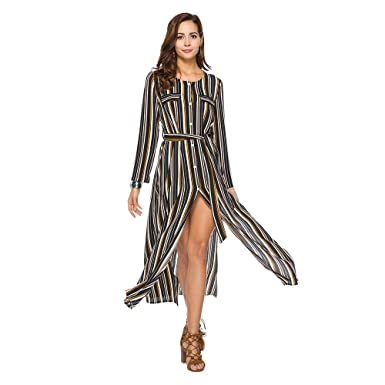 9689fd38fa SUGARWEWE Women Long Sleeves Button Front Striped Maxi Dress Slit Tie with  Belt Black M
