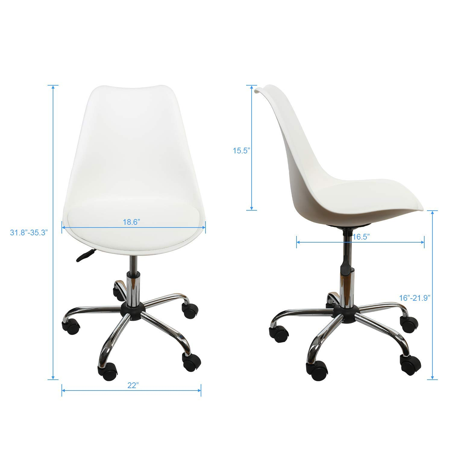 Office Chair White,Low-Back Support,PU Leather Surface,Computer Chair Comfort Height Adjustable, Chair Seat Without Arms in White,by U-Eway,1PC