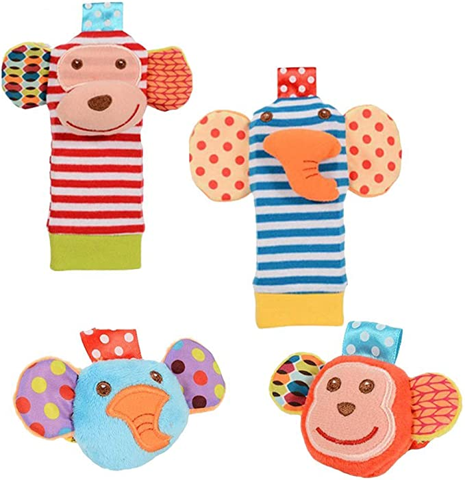 Anais Elephant and Zebra Boys Baby Rattle Socks 6-12 months 2 pack Aden