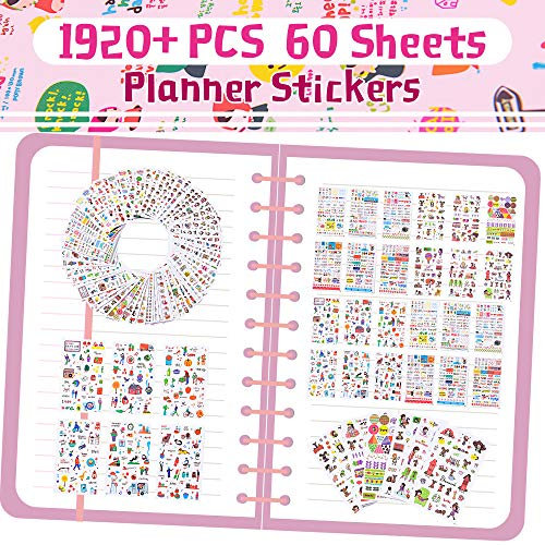 Planner Stickers Set-Girl, Cat, Dog, Plant, Holiday Decoration and More Stickers 60 Sheets Set of 1920+ Stickers for Scrapbooking, Calendars, Arts, Kids DIY Crafts, Album, Bullet Journals