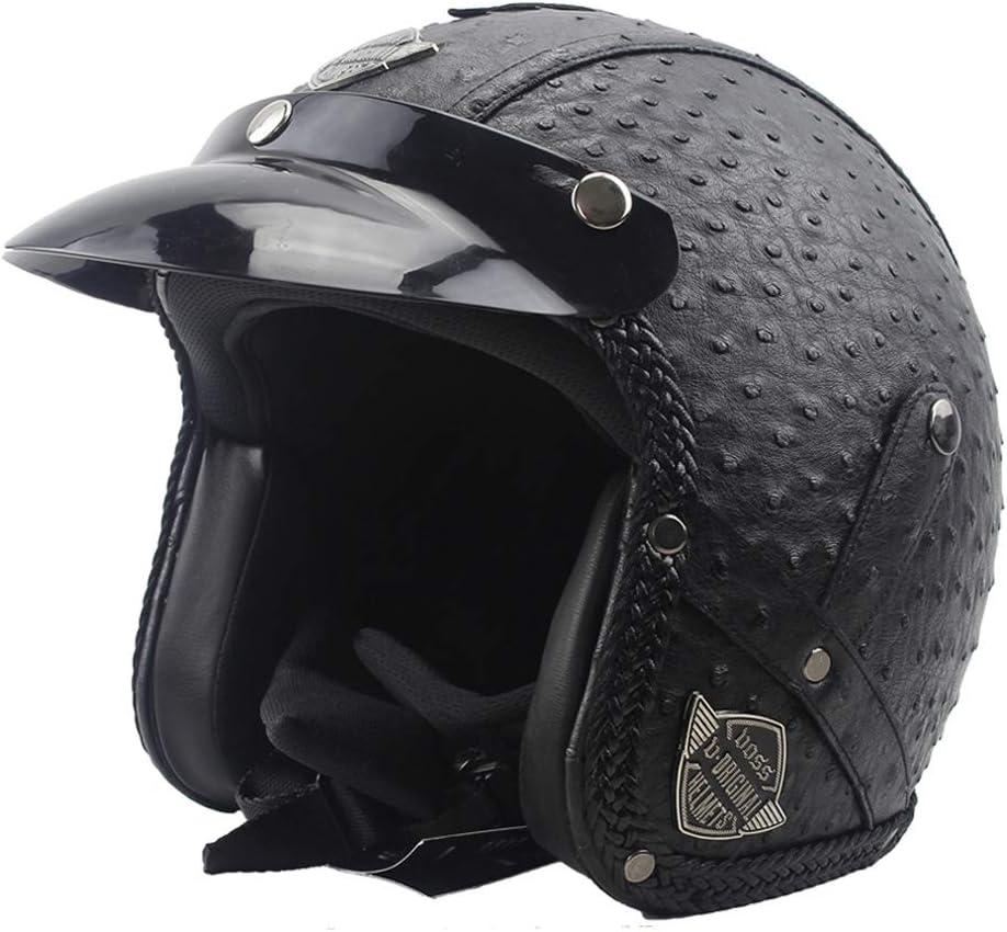 Mangen Motorradhelm Jethelm Vespa Helm Motorradhelm Motoradhelme Roller Scooter Schwarz, M