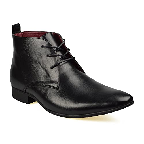 b501f1825ae Mens Black Leather Smart Formal Casual Lace Up Boots Shoes UK SIZE 6 7 8 9  10 11 (UK 10 (44), Black)