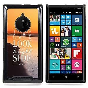 For Nokia Lumia 830 - Look Bright Side Life Positive Quote Inspiration /Modelo de la piel protectora de la cubierta del caso/ - Super Marley Shop -