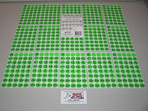 (600) SNACK & SODA VENDING MACHINE PRICE LABEL STICKERS (Green) / Free - Soda Vending Labels Machine