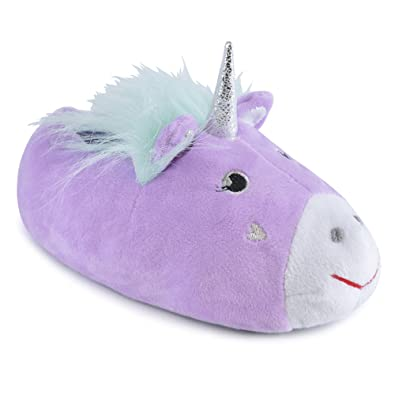 0c3a132e3b7a2 Girls Enchanting Novelty Unicorn Plush Lined 3D Slippers With Fabric  Non-Slip Sole