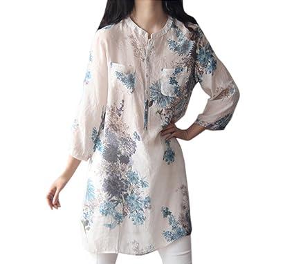 Frühling und Herbst Damen Lang Shirt Mode Druck 3 4 Arm Oberteile Tuniken  Bluse Freizeit Locker Tops T-Shirt Hemden Tee Minikleid  Amazon.de   Bekleidung 48a324ed21