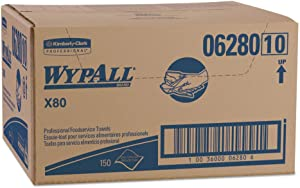 WypAll 06280 X80 Foodservice Towel, Kimfresh Antimicrobial Hydroknit, 12 1/2 x 23 1/2, 150/Ct