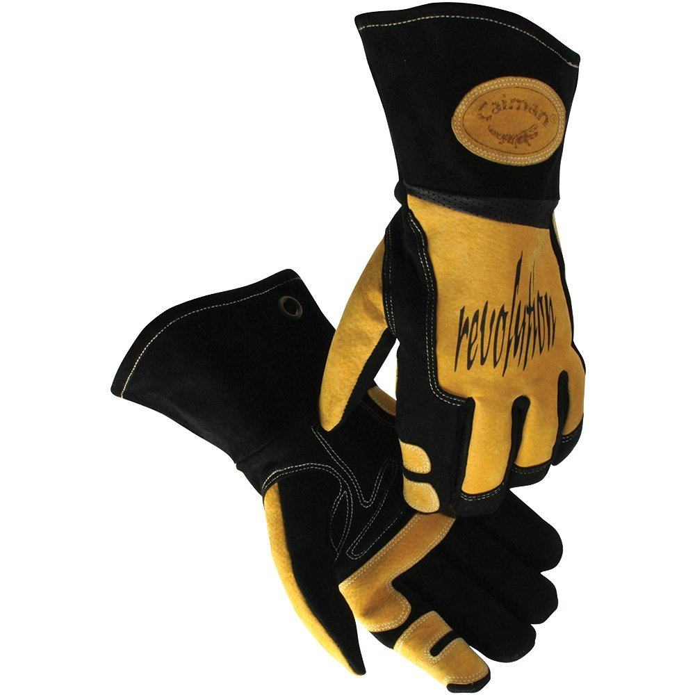 Caiman Multi Activity Gloves Genuine Pig Grain Leather Gold Gloves with G-GripTM palm (Large, Yellow/Black) by Caiman B005DMGMB6