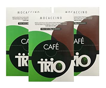 Cafe Trio Cappuccino Mocaccino Mix - Costa Rican Coffee Instant Mix, 3 Six-Packs