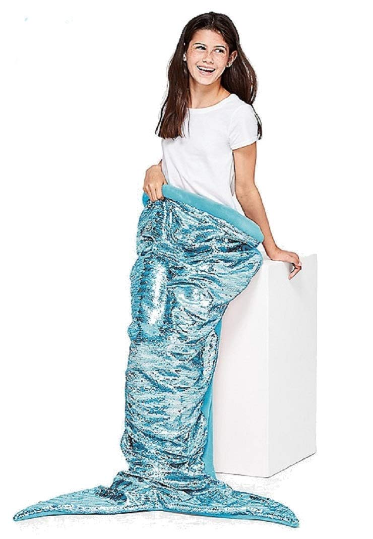 Justice for Girls Aqua Flip Sequin Mermaid Tail Blanket by Justice