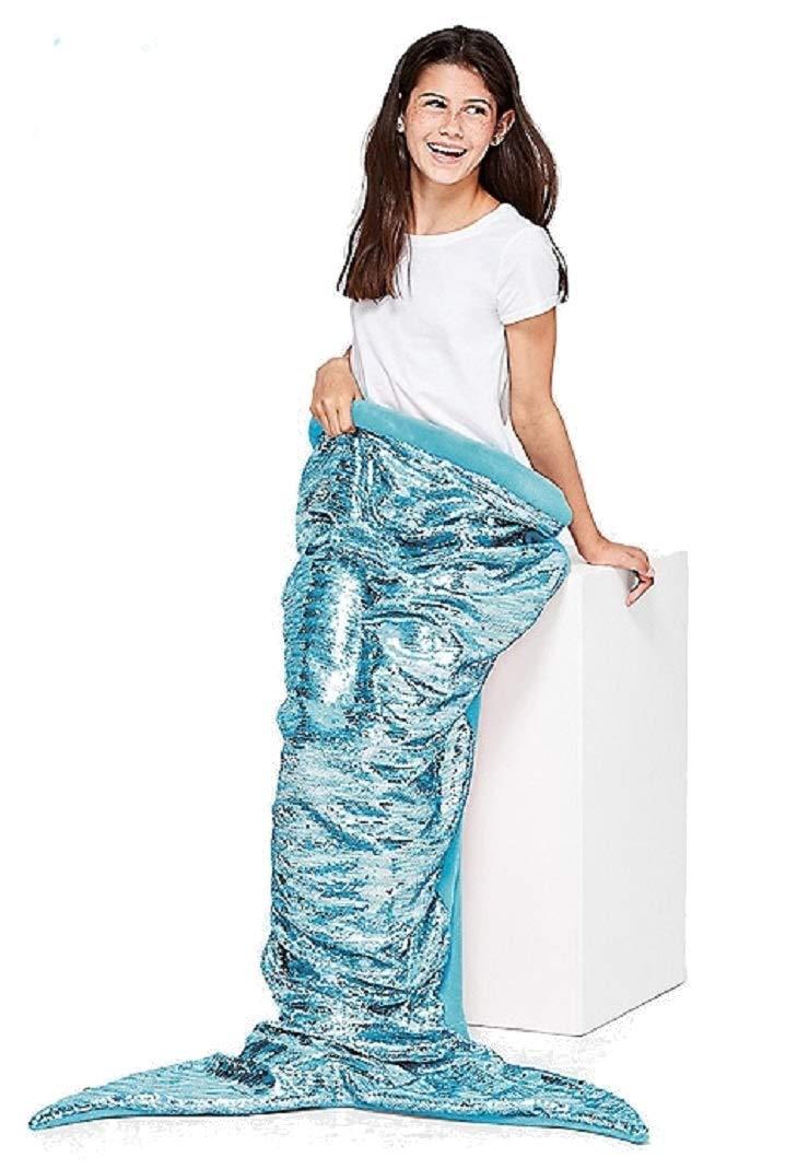 Justice for Girls Aqua Flip Sequin Mermaid Tail Blanket