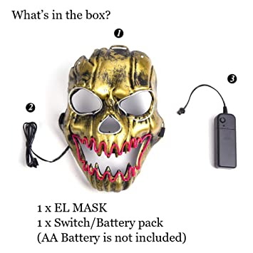 Amazon.com: Ansee Luminous Scary Clown Mask Halloween Led Mask Flames Skull Mask Light Up Mask: Toys & Games