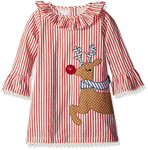 Mud Pie Reindeer (Mud Pie Baby Toddler Girls' Holiday Dress Ruffle, Reindeer Ticking, 3T)
