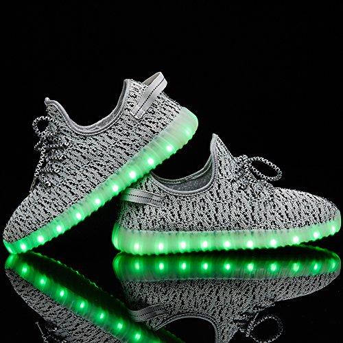 Senni Unisex Glanzende Led Schoenen Oplichten Usb Opladen Knipperende Sneakers Grijs