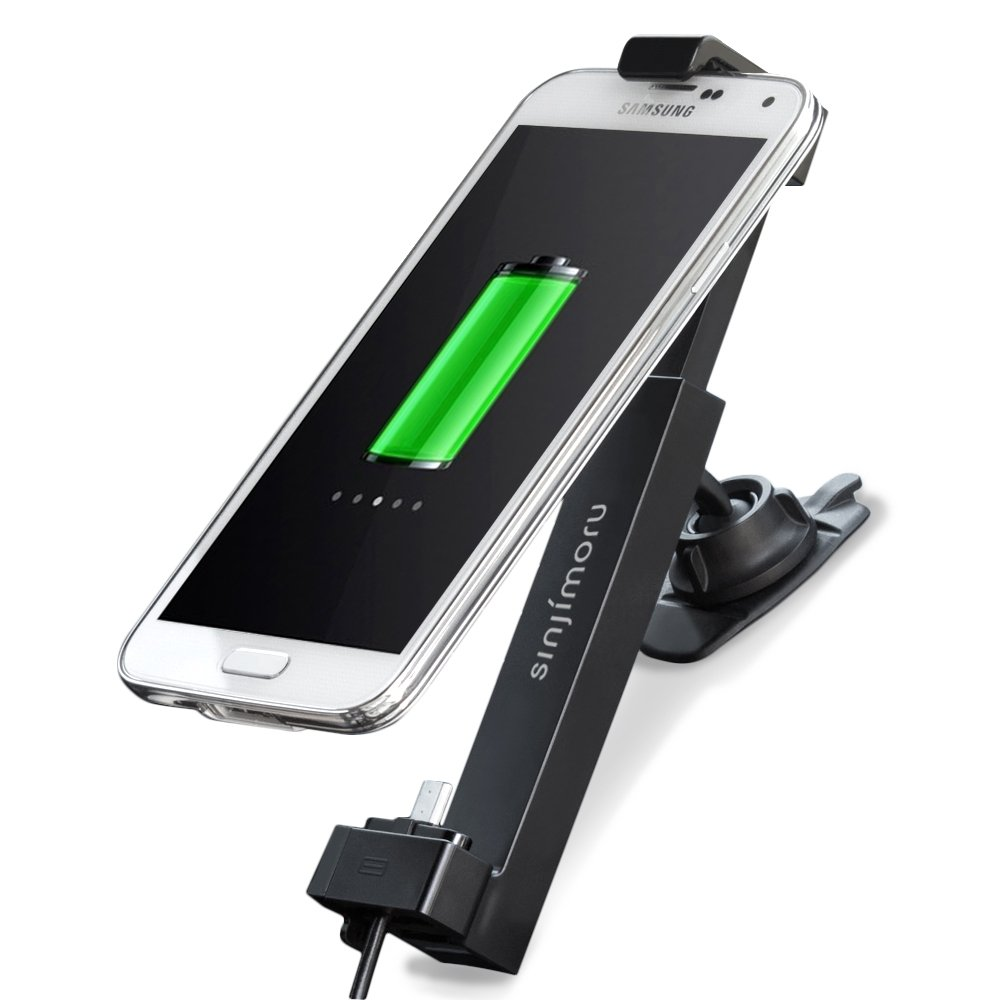 Car Mount, Sinjimoru Car Holder for Galaxy S6 / S4, Galaxy Note 5/4, Nexus or Most Smartphones with Micro 5 Pin USB Cable for Charging. Sinji Car Kit, Android Basic Package.