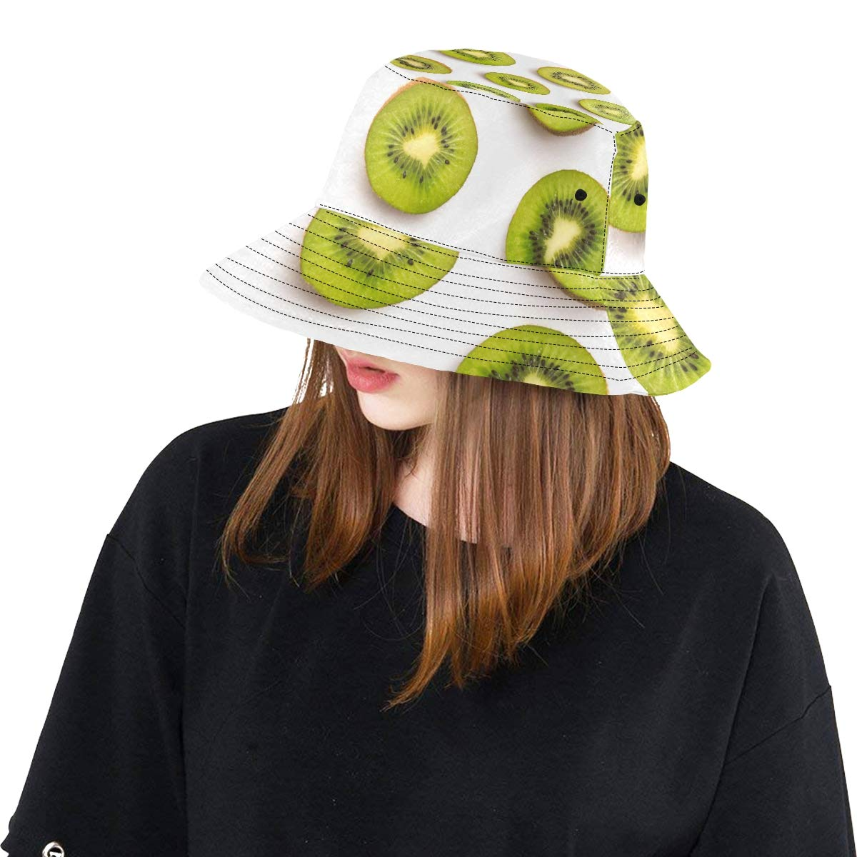 Green Fruit Kiwi Slice New Summer Unisex Cotton Fashion Fishing Sun Bucket Hats for Kid Teens Women and Men with Customize Top Packable Fisherman Cap for Outdoor Travel