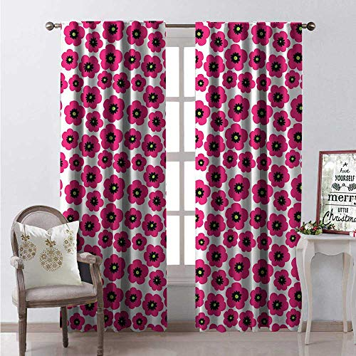 Hengshu Poppy Room Darkening Wide Curtains Ornamental Pink Toned Poppies Doodle Style Arrangement Feminine Corsage Decor Curtains by W120 x L108 Pink Black and Green