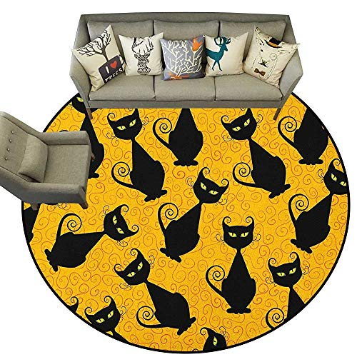 Vintage,Woman Yoga Mat Black Cat Pattern for Halloween on Orange Background Celebration Graphic Patterns D54 Round Rug Non-Slip Crawling Carpet
