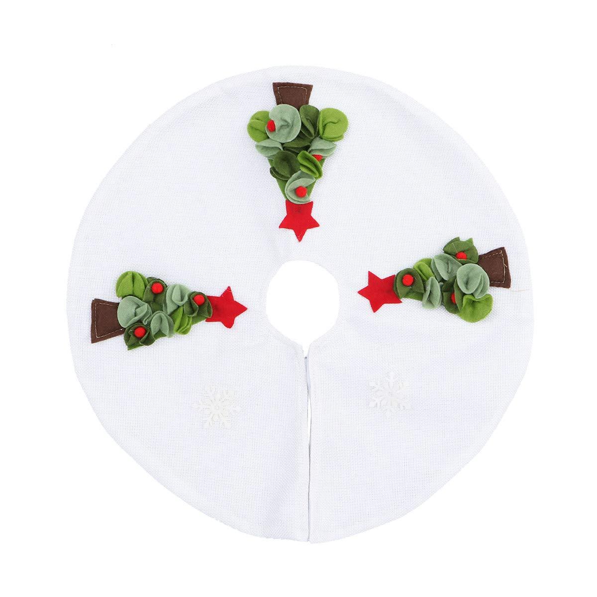 BESTOYARD Christmas Tree Skirt Base Floor Mat Cover Tree Pattern Ornaments 42cm