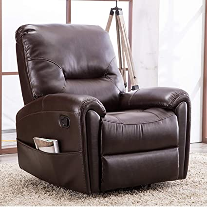 Amazon.com: CANMOV Recliner Leather Glider Swivel Chair with Pocket ...