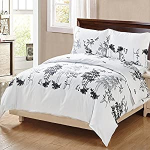 Duvet Cover Set Bedding Set Comforter Cover Quilt Cover Bed Linen 3 Pcs with Pillow Shams Soft Comfy Brushed Velvety Microfiber Bamboo Pattern Premium Bedding Collection (Queen(90inch x 90inch))
