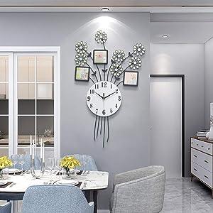 "FT 30.7"" Big Large White Decorative Photo Frame Wall Clocks for Living Room Bedroom Iron Art Decor (Black)"