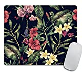 Watercolor Tropical Flower Desk Set, Fabric Mouse Pad, Desk Set, Office Set, Rectangle Mouse Pad, White Red Flowers, Business Gift