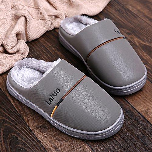 Inverno fankou paio di pantofole di cotone gli uomini e le donne di spessore inferiore impermeabile coperta calda anti-skid soft home home inverno maschio, 42/43 (consigliato 41/42 usura), grigio