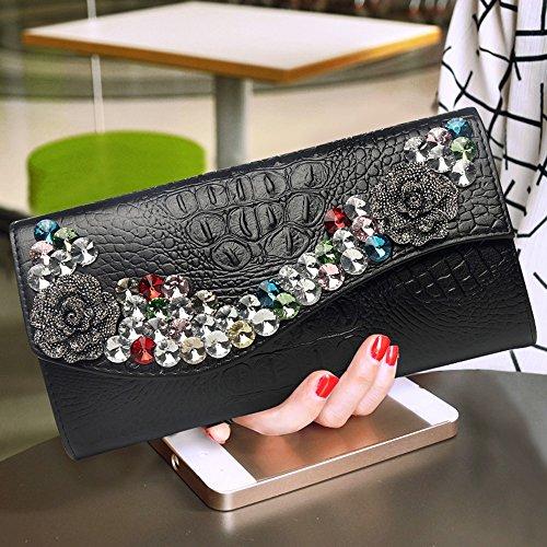 diamant mode en percer main cuir au sac la en de capacité sac Couleur à sac Sac Blanc Noir diamant main à à soirée à à grande sac 8wZYxqgE