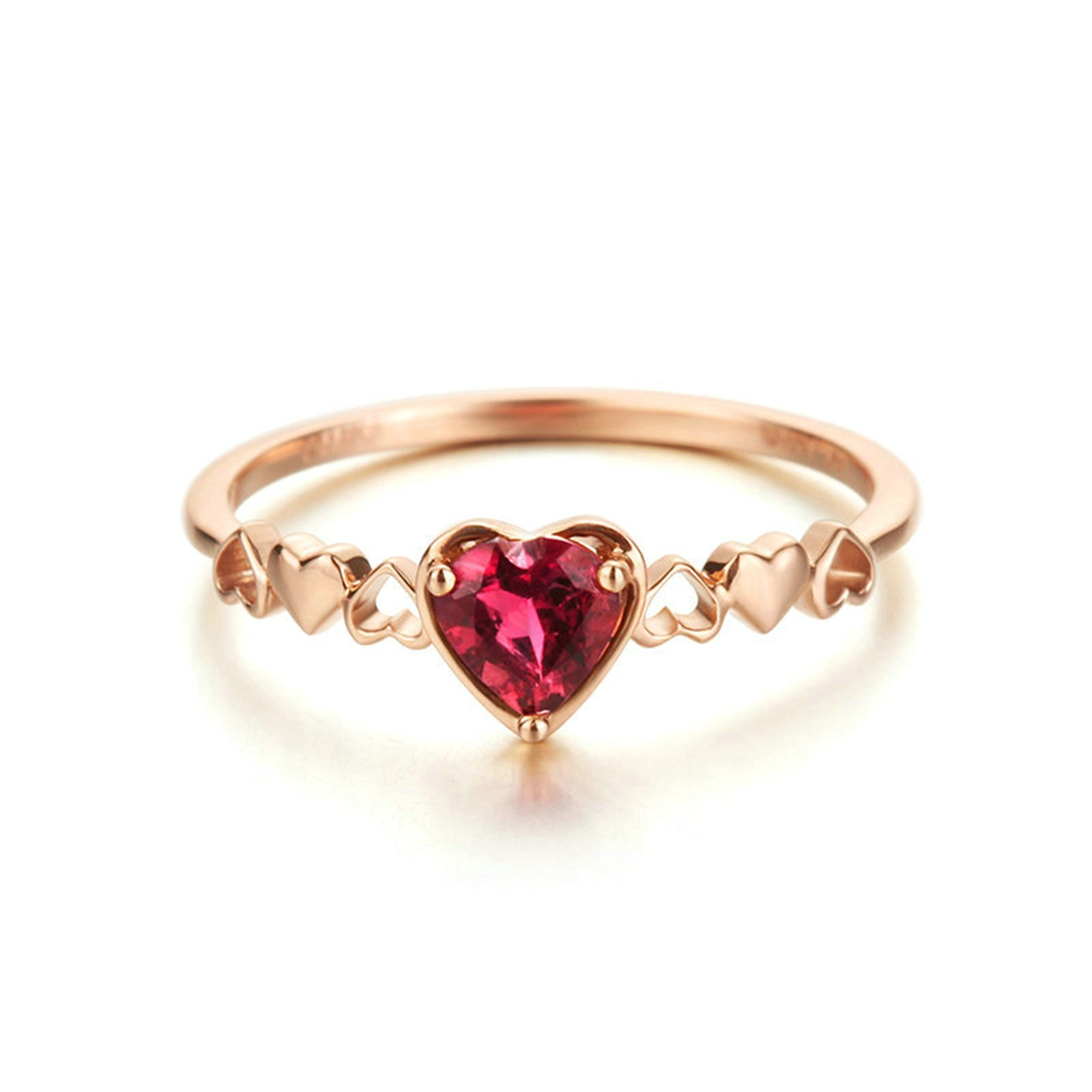 18K Rose Gold(Au750) Heart Red Tourmaline 0.35CT Promise Gold Rings For Her
