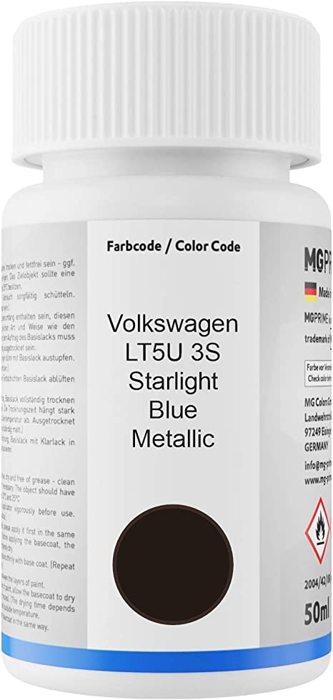 Mg Prime Autolack Lackstift Set Für Volkswagen Vw Lt5u 3s Starlight Blue Metallic Basislack Klarlack Je 50ml Auto