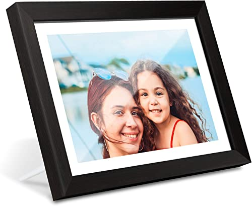 AEEZO WiFi Digital Picture Frame 10.1 Inch IPS Touch Screen HD Display, 16GB Storage, Auto-Rotate, Share Photos Videos via Free Frameo App, Wall Mountable Digital Photo Frame with Black Wood Frame