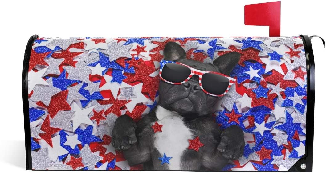 A Seed Mailbox Cover Standard Magnetic Covers Dog American USA Flag Red Stars Puppy for Post Box Wraps Patriotic Independence Patriot Memorial Veterans Day