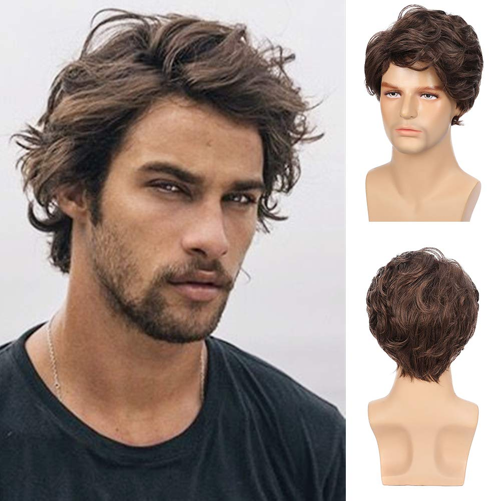 Amazon Com Kaneles Mens Wigs Brown Short Wavy Shaggy Style Layered Cosplay Halloween Costumes Male Wig Beauty