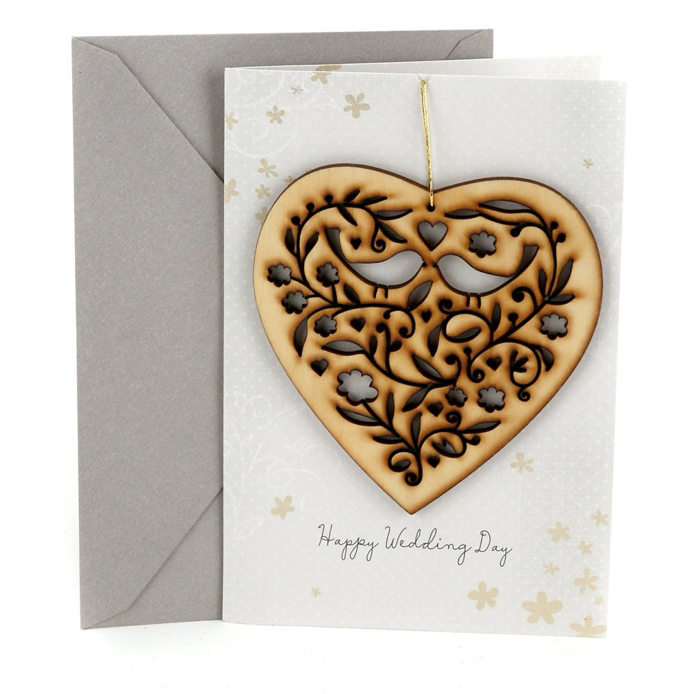 Hallmark Wedding Card (Removable Keepsake Wooden Heart Ornament)