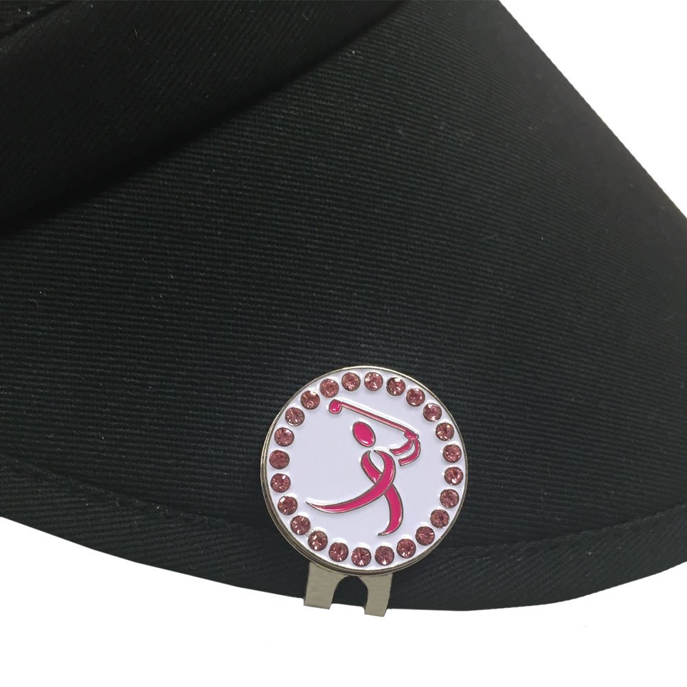 Giggle Golf Par 3 - Pink Ribbon Golfer Towel, Tee Bag And Bling Ball Marker With Hat Clip – Perfect Golf Gift For Women by Giggle Golf (Image #7)