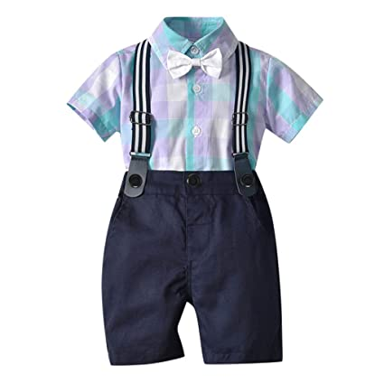 3a5ef9fba083 Amazon.com: ❤ Mealeaf ❤ Infant Baby Boy Gentleman Suit Bow Plaid Tie Shirt  Suspenders Shorts Outfit Set(Purple,80): Home & Kitchen