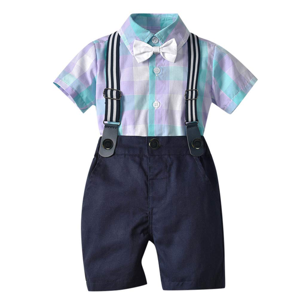 Baby Toddler Boy Summer Shorts Set for 0-3 Years Old,Kids Bow Plaid Tie Shirt Suspenders Shorts Gentleman Suit